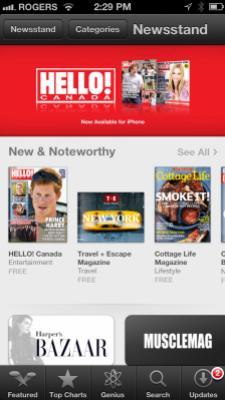 Apple's newsstand app