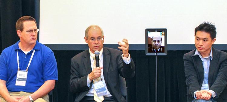 Nasa CIO using a Double Robotics telepresence robot to attend a conference.