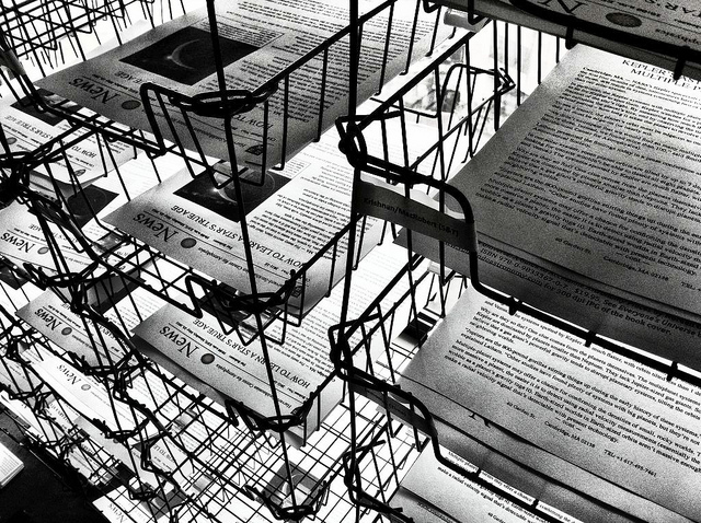 Public relations: stacks of press releases