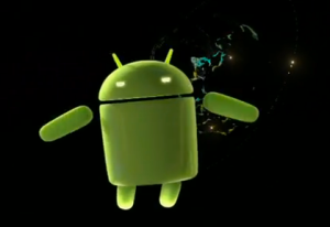 Android robot in space