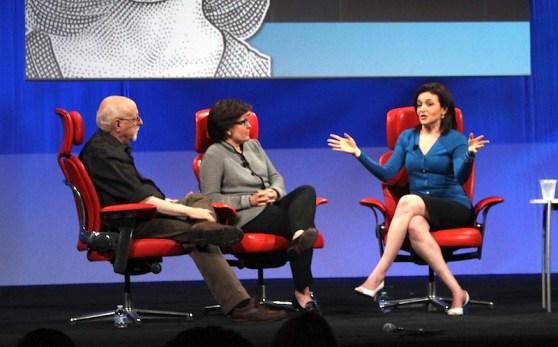 Sheryl Sandberg onstage at D11, with Walt Mossberg and Kara Swisher