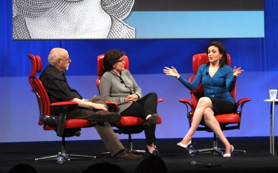 Sheryl Sandberg onstage at D11, with Walt Mossberg and Kara Swisher