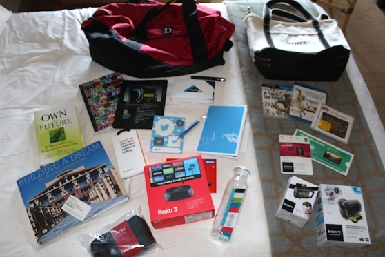 The overflowing swag bags at D11.