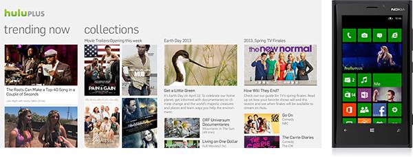 Screenshots from Hulu's app for Windows Phone 8