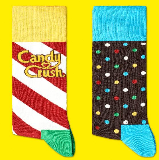 King gets Happy Socks to create Candy Crush Saga socks.