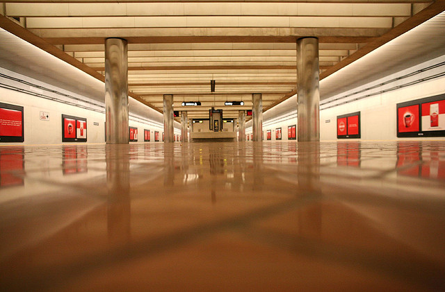 Photo of an empty BART station