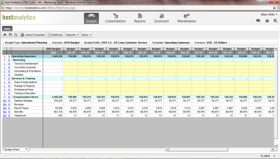 Host Analytics Excel Interface in a Browser