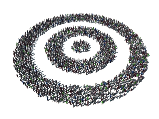Minimum Viable Segment illustration (a bullseye made of people)