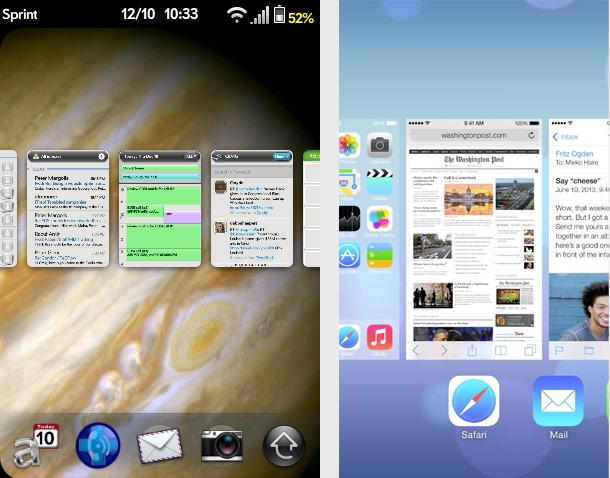 WebOS versus iOS: multitasking