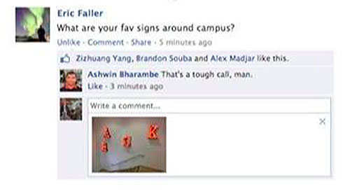 Photo comments on Facebook