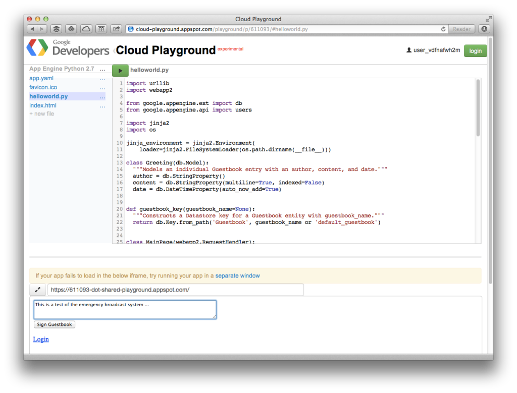 "A quick ""hello world"" guestbook app in Google Cloud Playground"