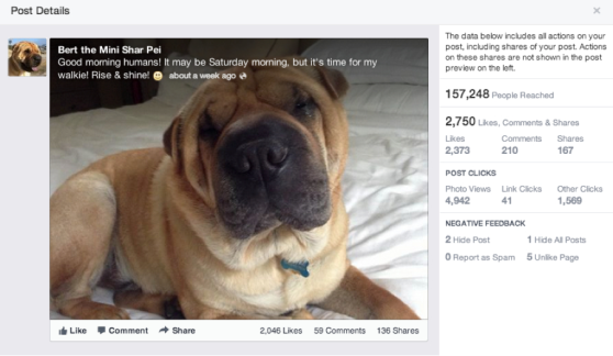 Facebook post quality score