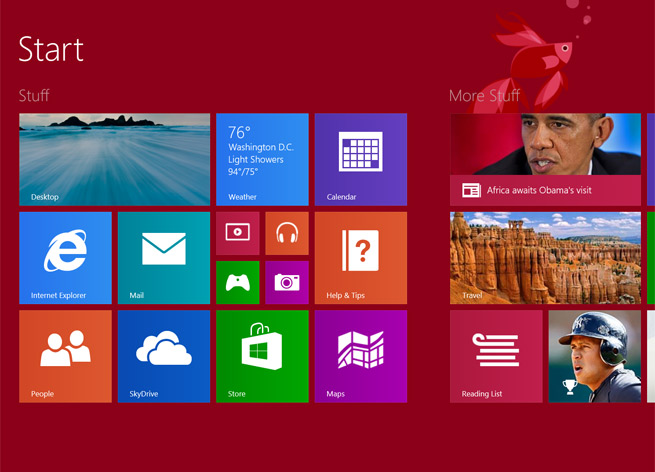 The Start Screen in Windows 8.1