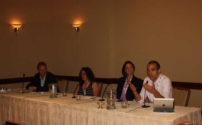 Behavior design panel at MobileBeat 2013: Jules Maltz (left), Michal Levin, Steph Habif, and Nir Eyal.