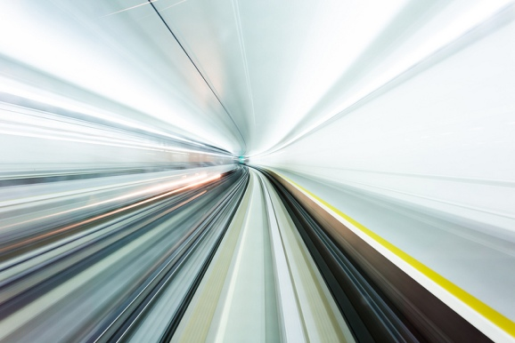The view from inside the tunnel for a very fast train