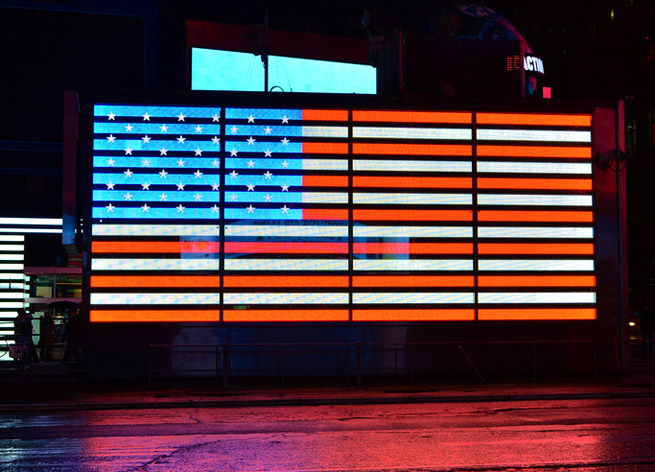 American flag display in Times Square