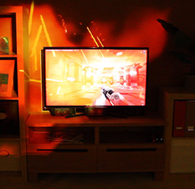 The Illumiroom projects images from the game screen across an entire wall.