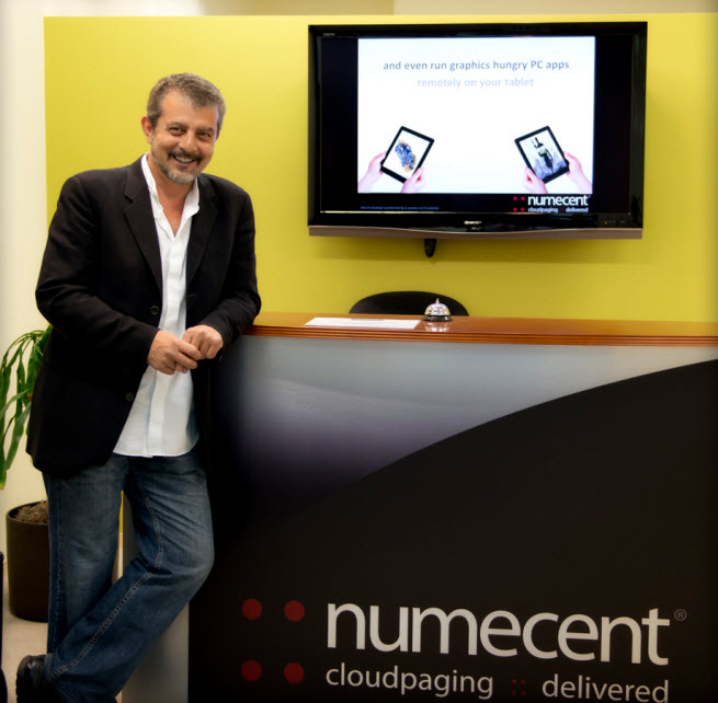 """Osman Kent, the CEO of Numecent, debuting a new """"cloudpaging"""" technology."""