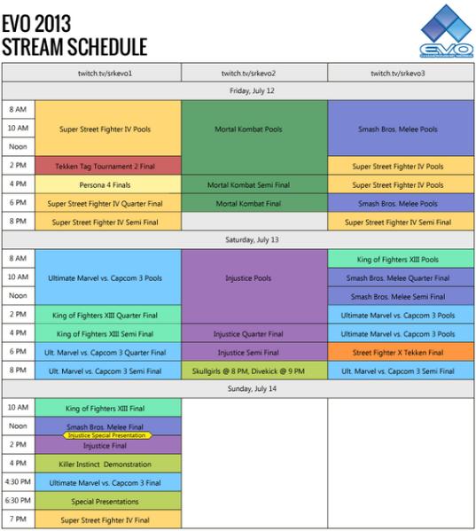 The full EVO 2013 streaming schedule