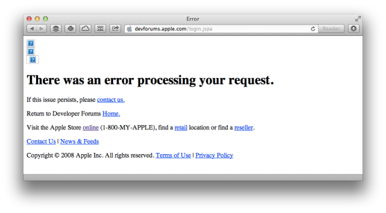 Even the Apple developer forums are down right now