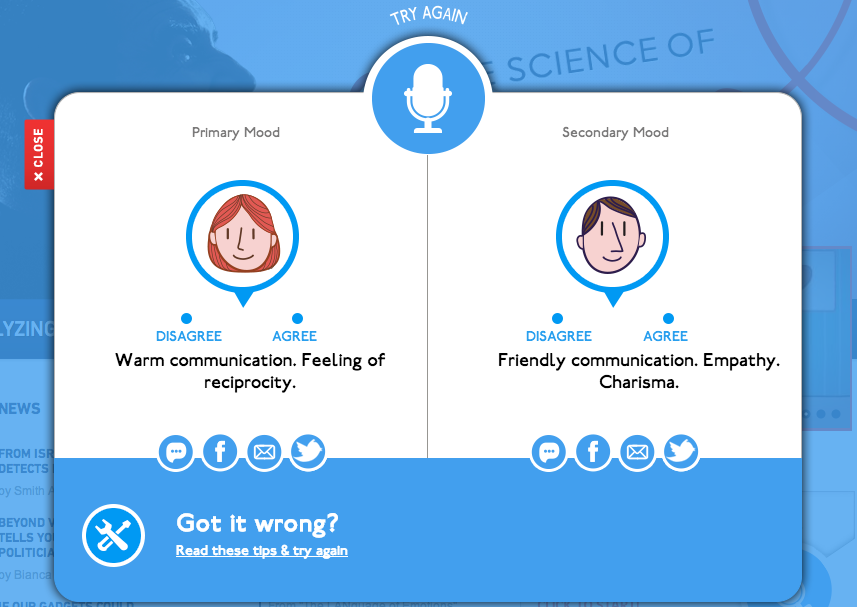 Beyond Verbal's Moodies application determines your emotions through the sound of your voice.