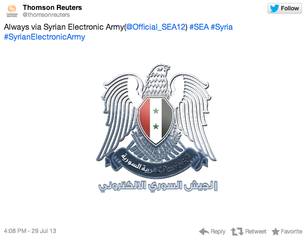 screenshot of hacked Thomson Reuters account