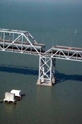 Collapsed span of the Bay Bridge, 1989.