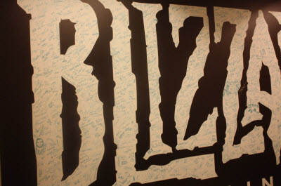 Blizzard employees signed their names on this banner.
