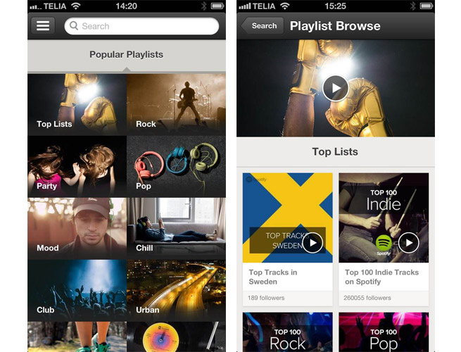 Spotify's new Browse feature on the iPhone
