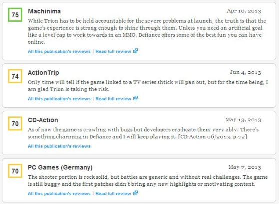 Some snippets of Defiance reviews on Metacritic.