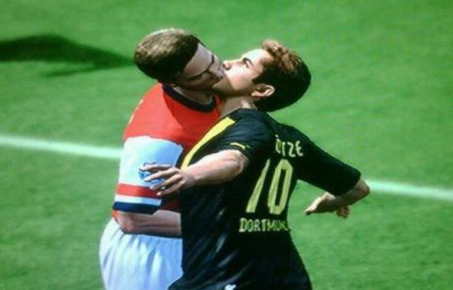 A glitch in FIFA 13 from EA Sports.