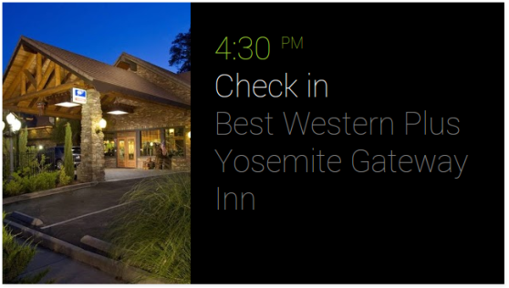 Google Glass check in hotel