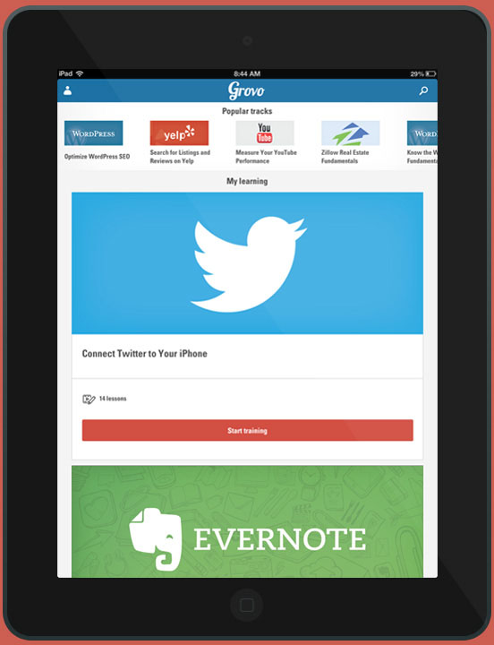 The popular tracks screen for Grovo's iPad app.