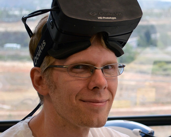John Carmack wearing the Oculus Rift headset