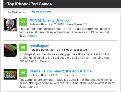The top three iOS games on Metacritic for the last 90 days.