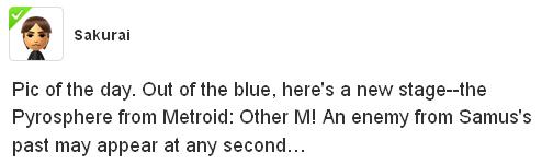 Super Smash Bros. director Masahiro Sakurai's Miiverse post.