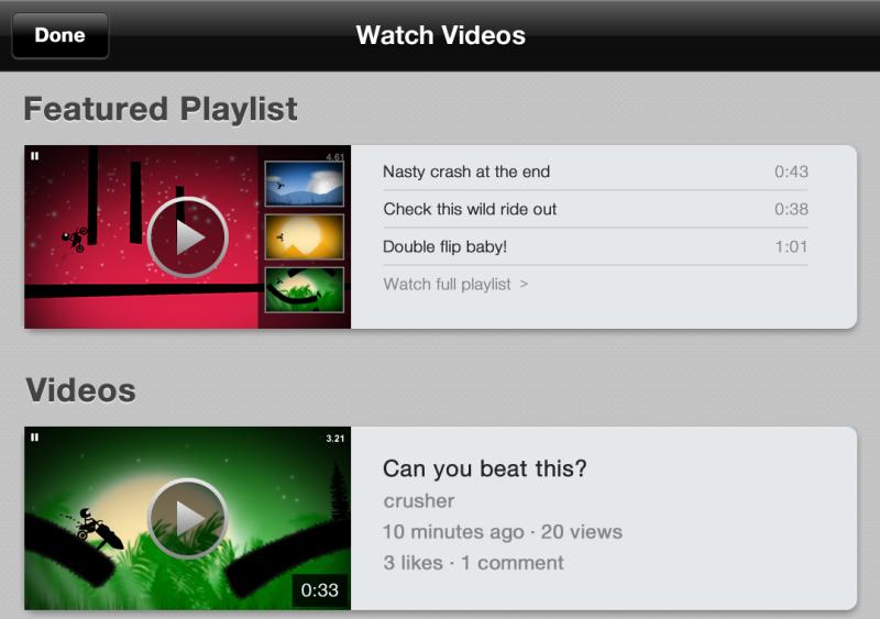 Watching videos through Kamcord.