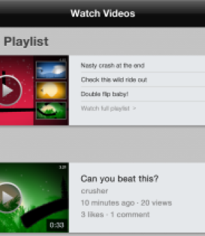 Kamcord's new user interface for watching in-game recordings.