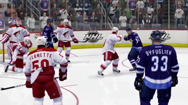A fight in NHL 14.