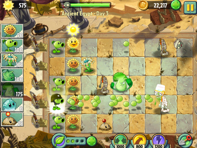 Plants vs Zombies 2. Ancient Egypt Day 3