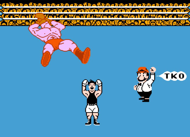 A scene from Punch-Out on the NES