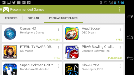 Google Play Games app.