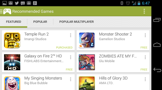 The featured games in Android's Google Play Games app.