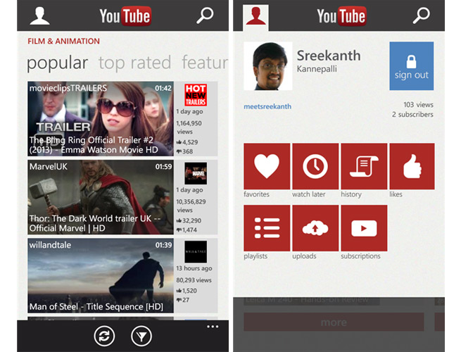 Microsoft's YouTube app for Windows Phone 8
