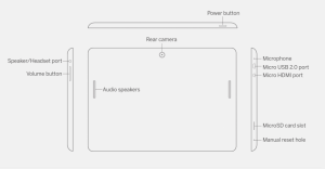 Spec diagram for the Amplify tablet.