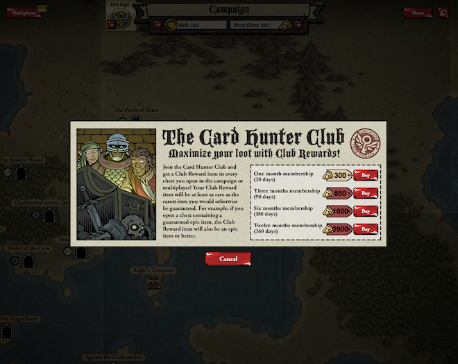 Want to join The Card Hunter Club? It's gonna cost you some pizza. (That's the in-game currency you can buy.)