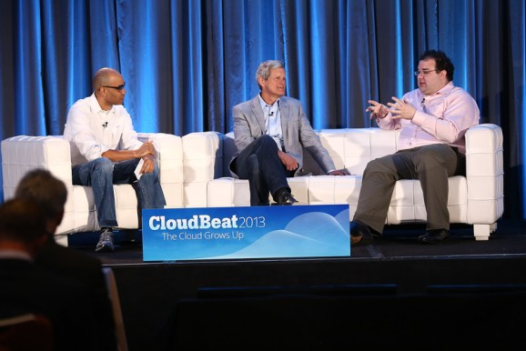 Sam Charrington, John Dillon of Engine Yard, and Michael Smith of Canvas, onstage at CloudBeat 2013.