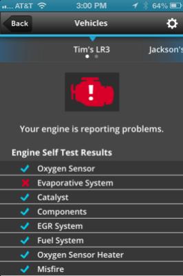 Zubie's engine status alert