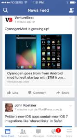 Facebook iOS 7 app