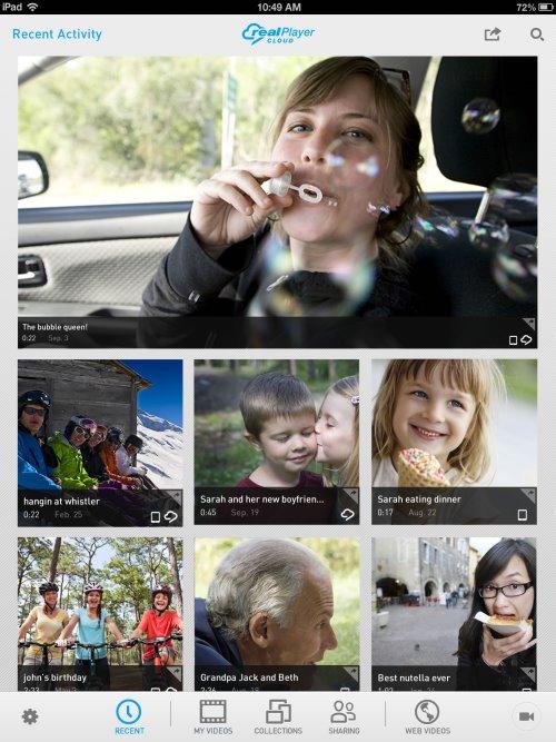 RealPlayer Cloud on iPad.